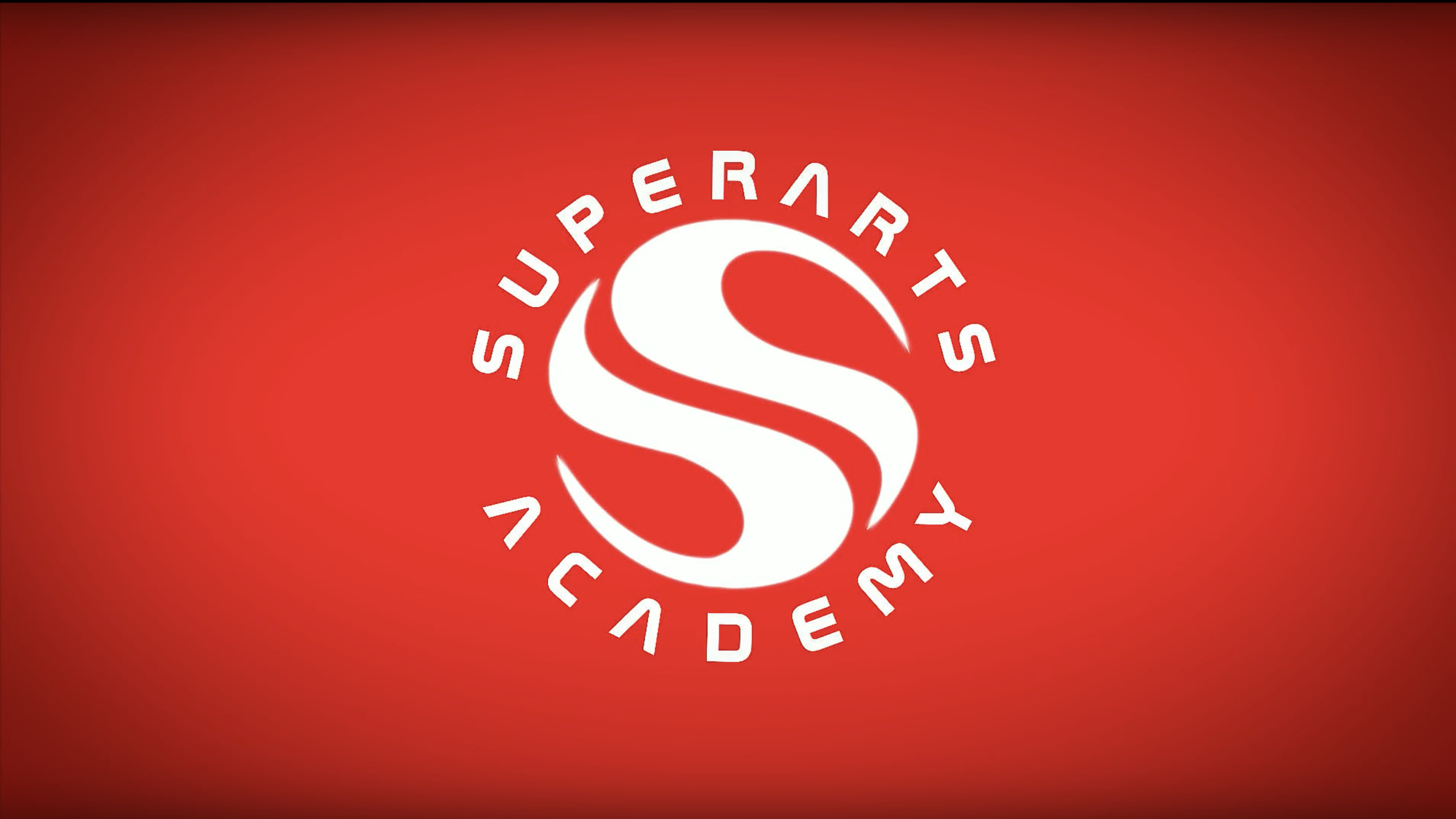 Red background with large red S in the middle with Superarts Academy circling it