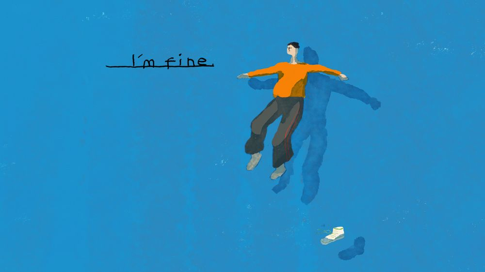 Illustration of person appearing to drown in blue with