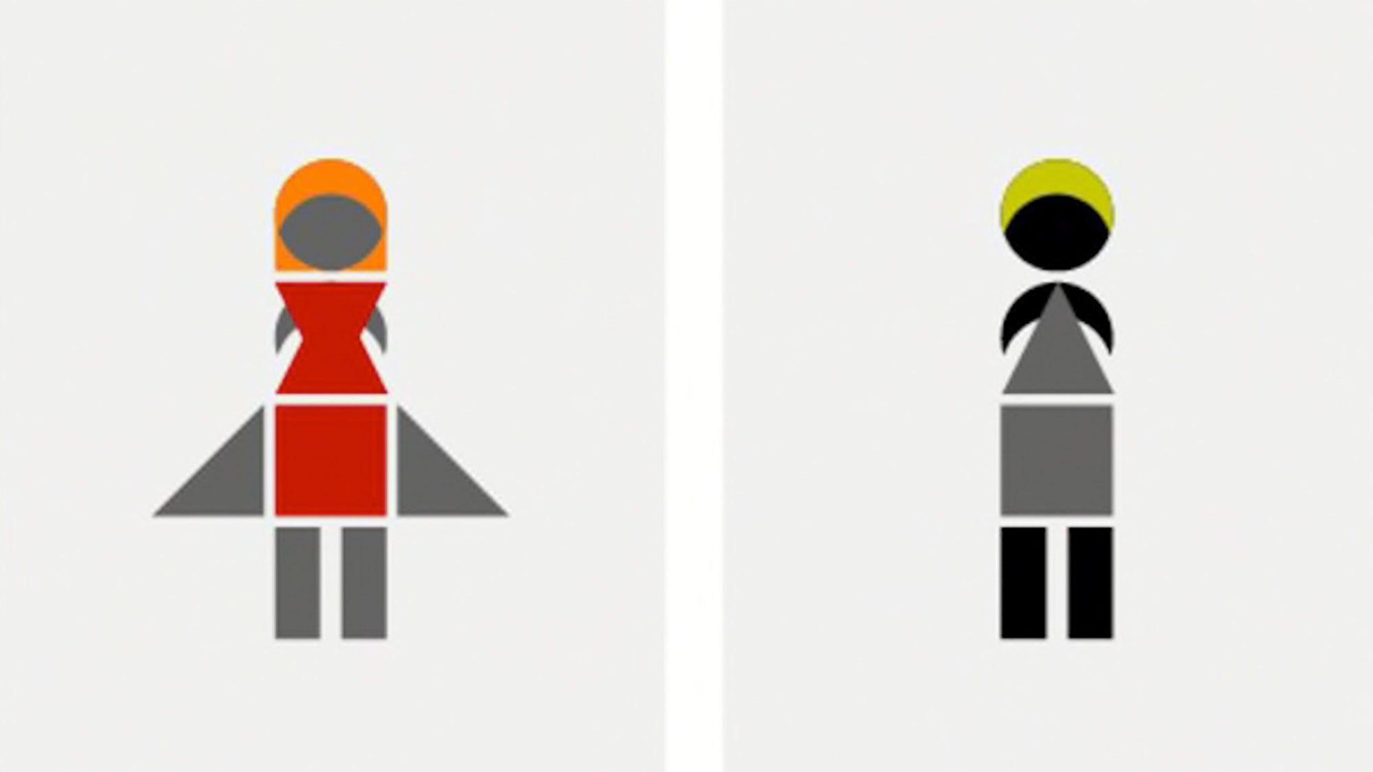 Bathroom signs made from coloured geometric shapes