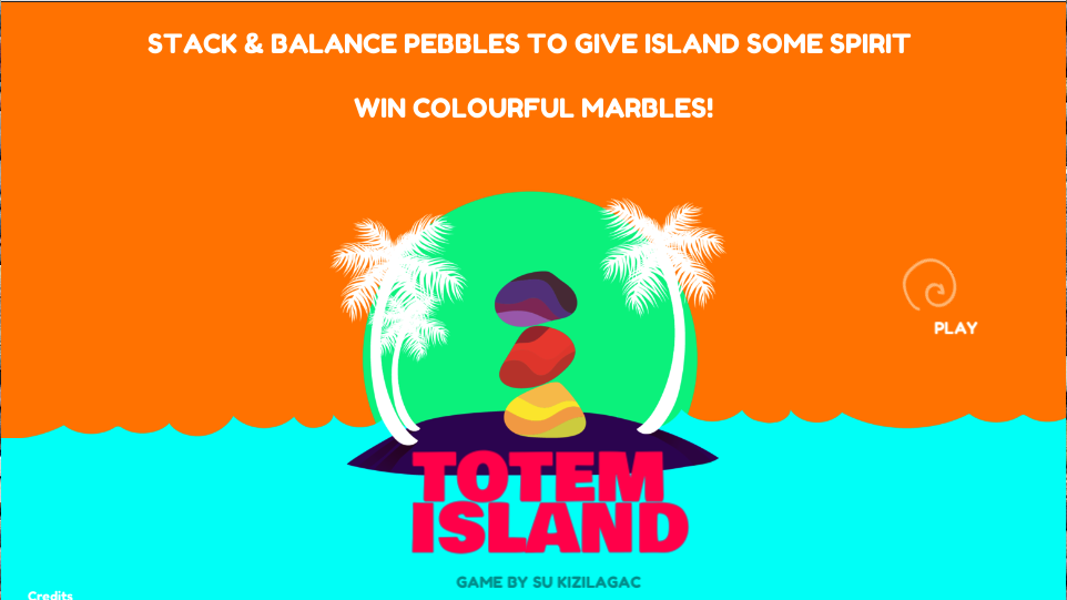screenshot of student game. orange background with blue water at the bottom to mimic a beach. there are palm trees and sunset in the middle with Totem Island title in the middle