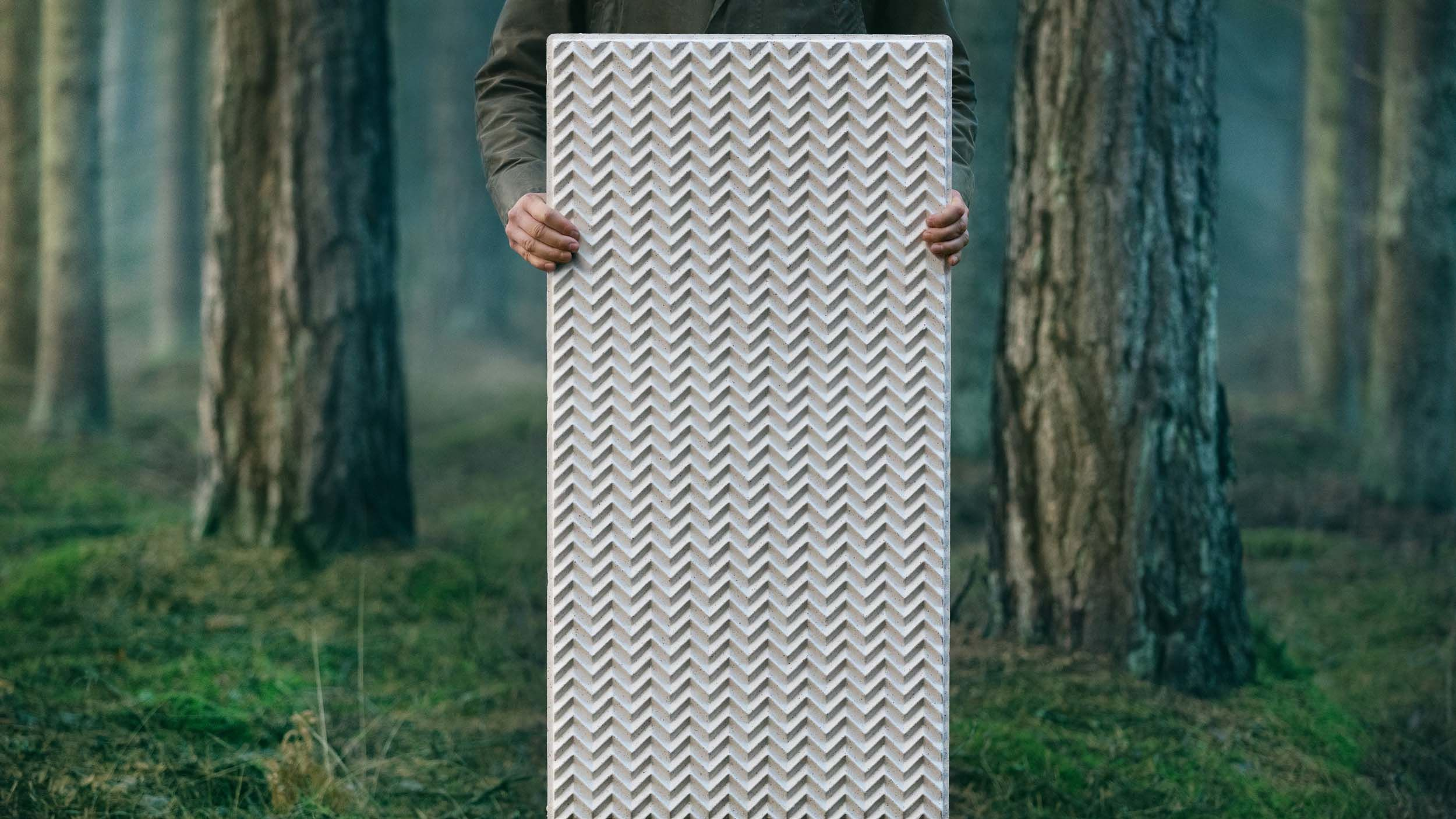 Pale panel held by person in woodland