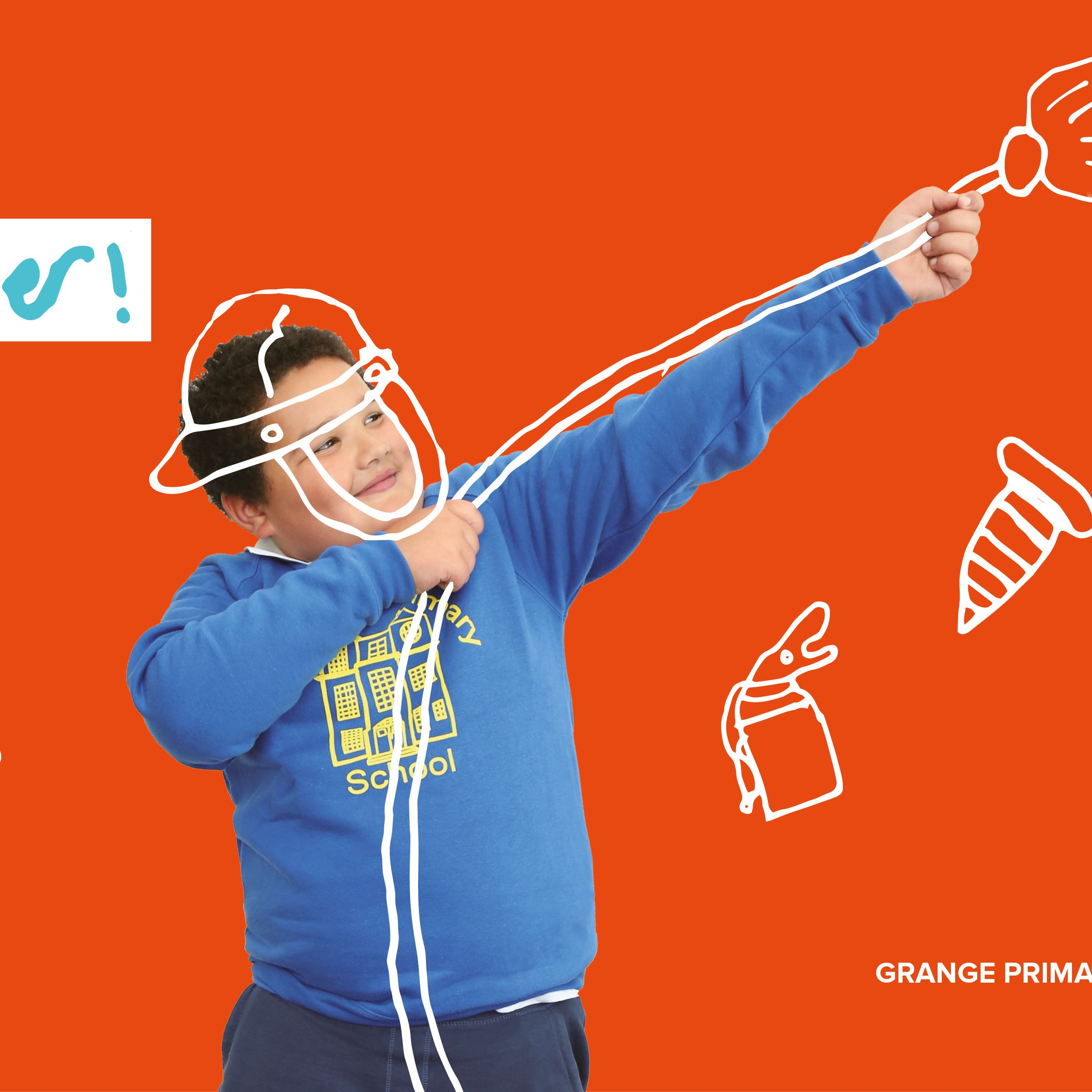 Promotional poster for Grange Primary School showing a child with the text
