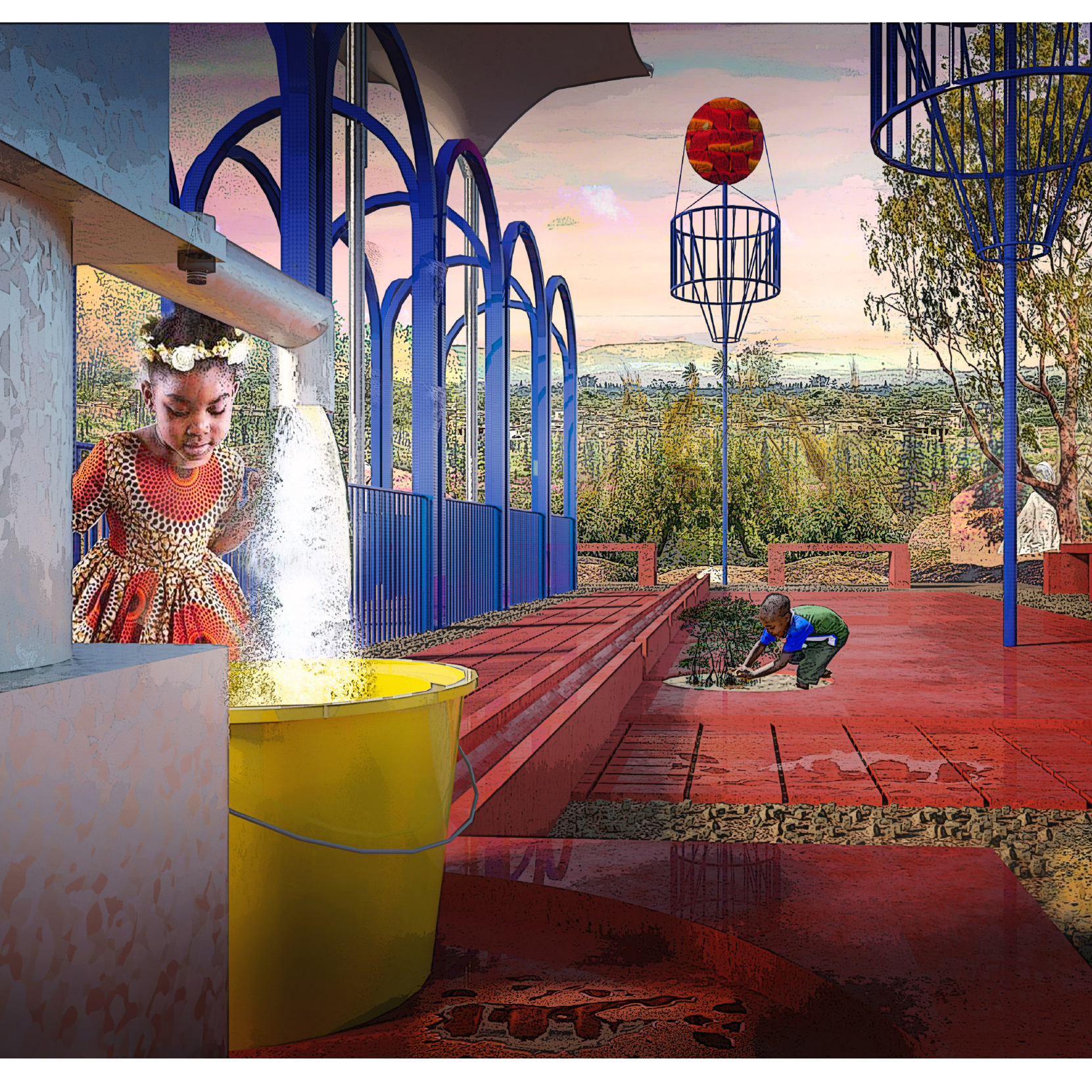 Illustration of girl at water well with blue and red open structure