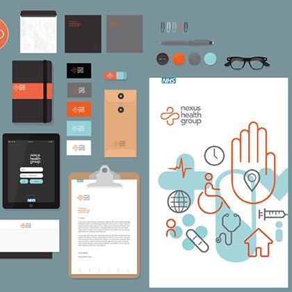 Illustration outcome design by students featuring clipboard, tablets, notebooks and other branded office material.