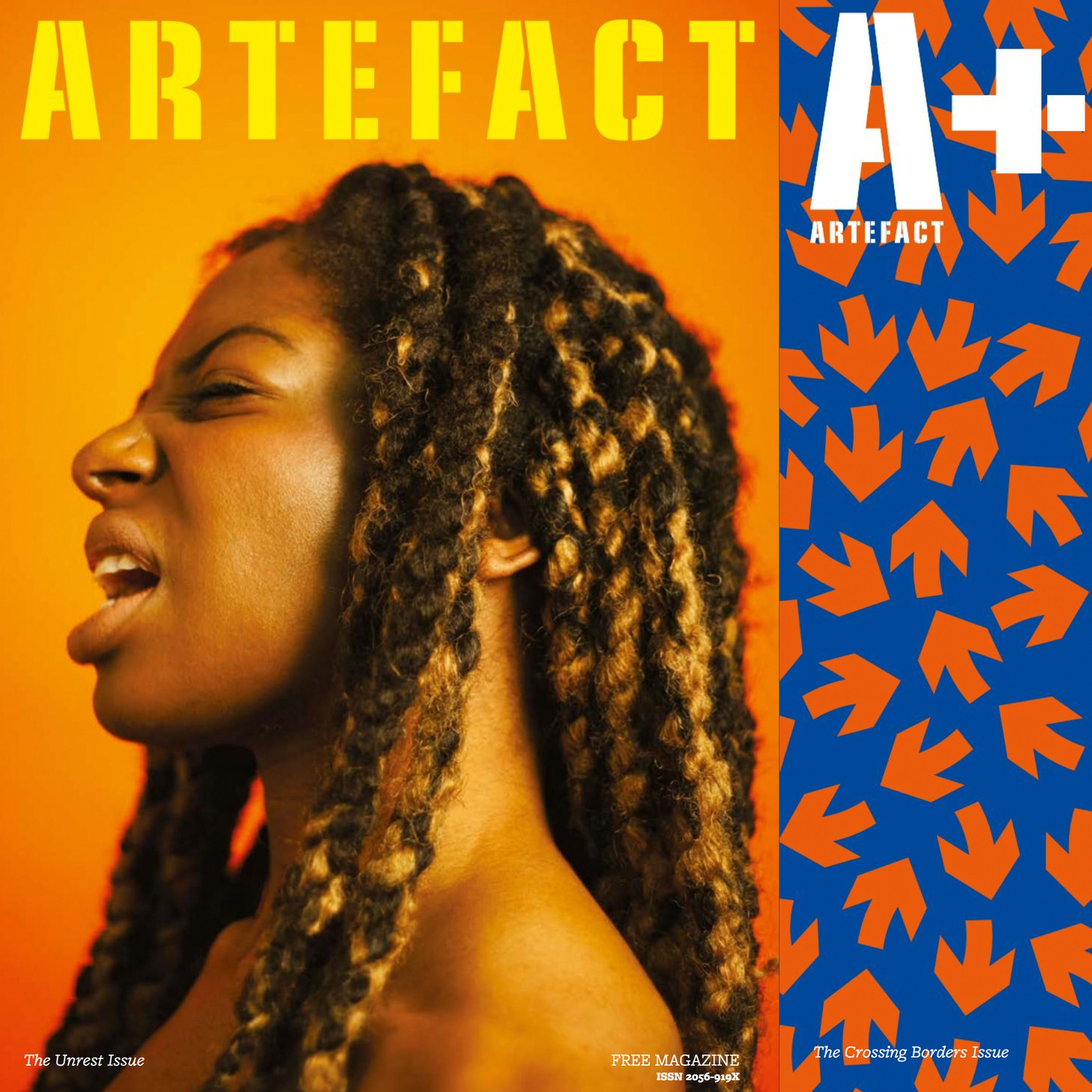 Two front cover designs for Artefact Magazine