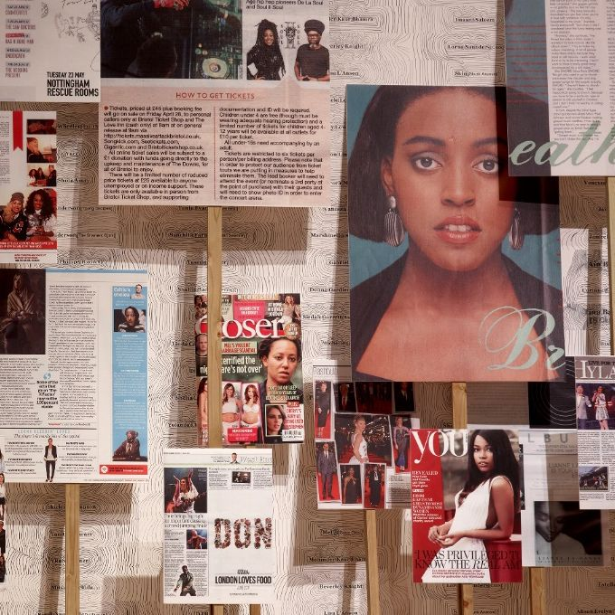 Gallery with placards made out of magazines