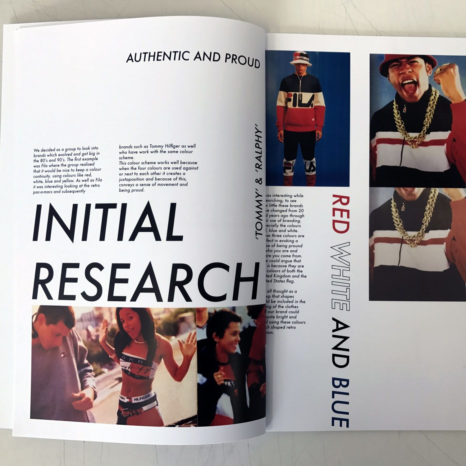 pages from a zine, displaying 'initial research' into the colours, red, white and blue