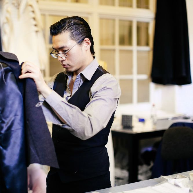 Micky Wong working on a tailored suit in the studio at LCF.