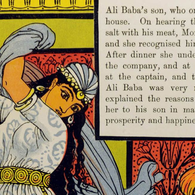 Image of a woman with long dark hair wearing a dress holding a knife above her head next to a passage of text about Ali Baba.