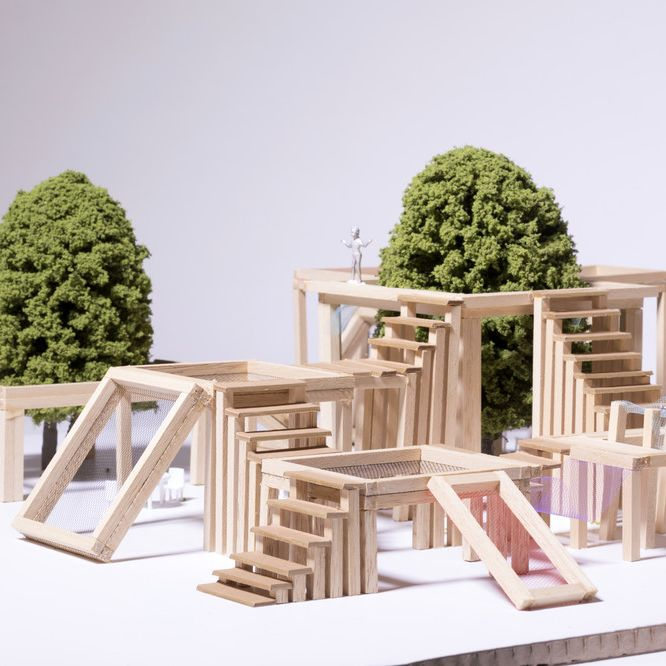 Miniature wooden model with trees