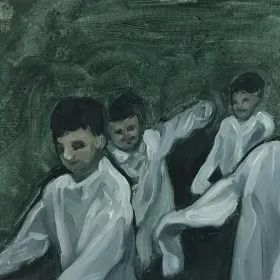 A painting of boys in white shirts