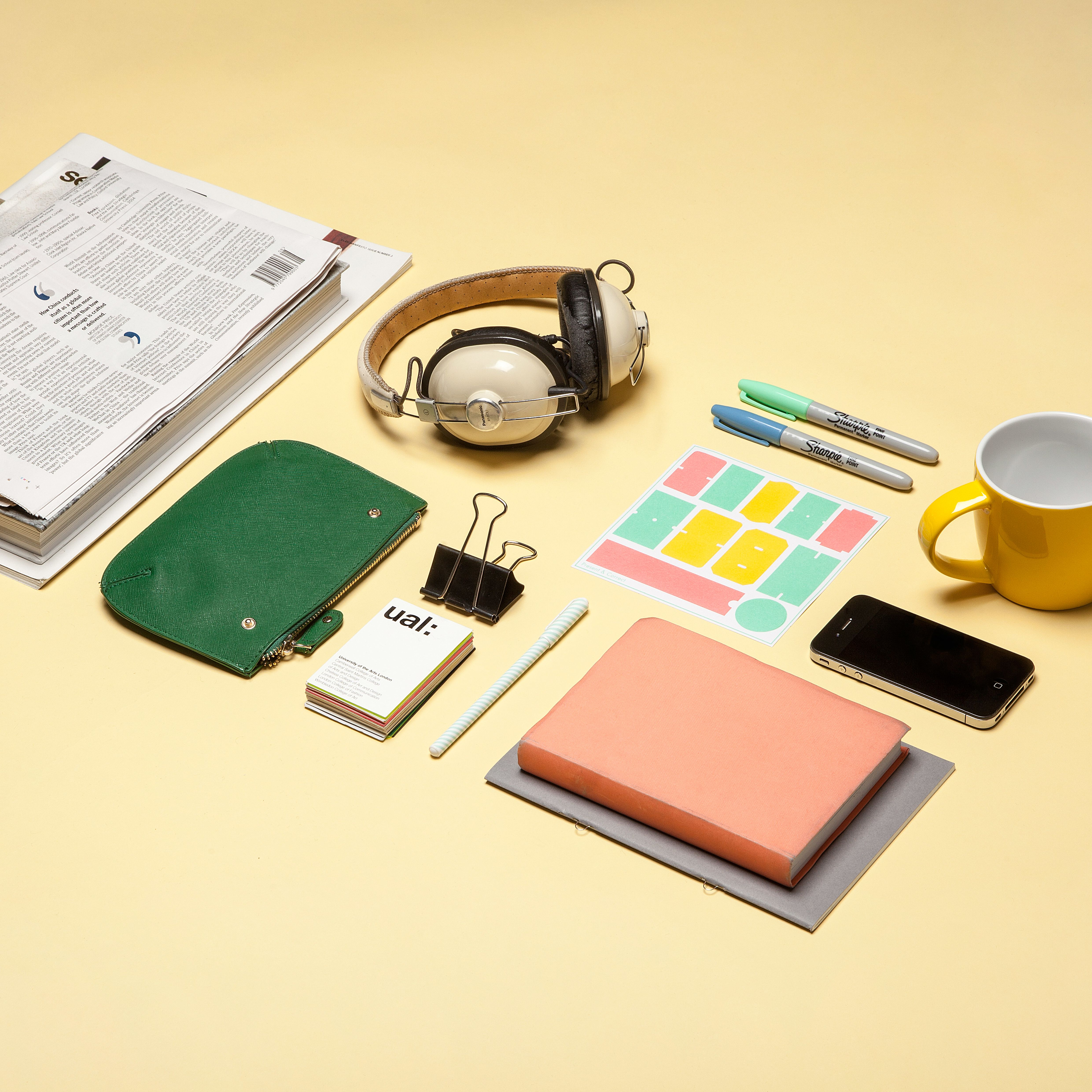 Birds eye view of desk and its contents