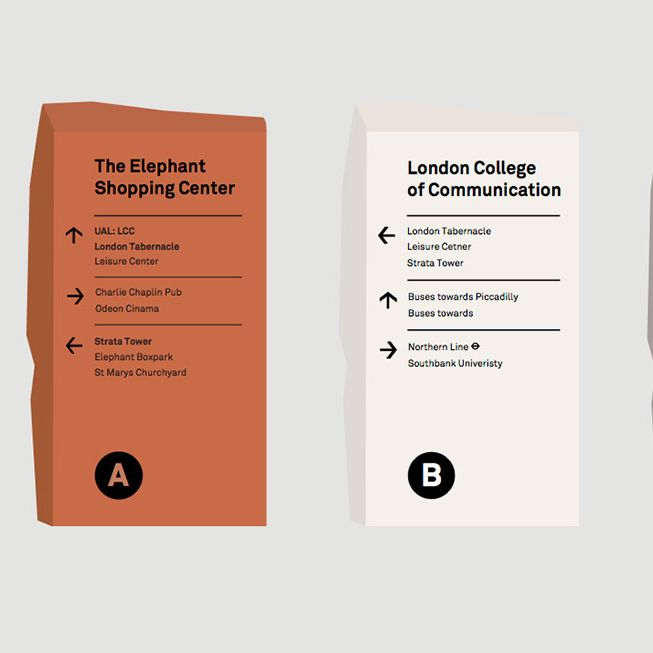 Mock-up designs for wayfinding in Elephant and Castle