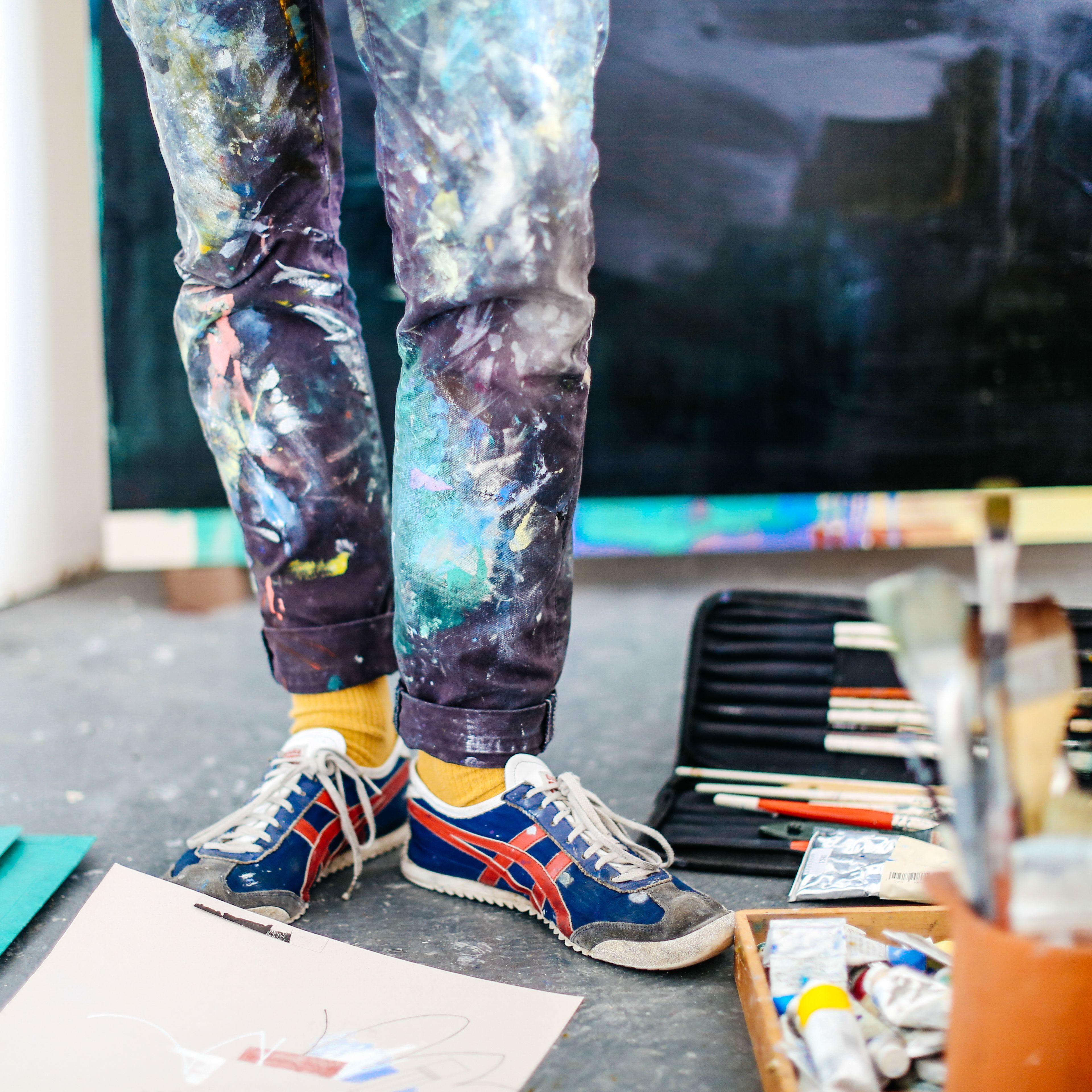 Art student in his studio, Benjamin Edmunds, BA Fine Art
