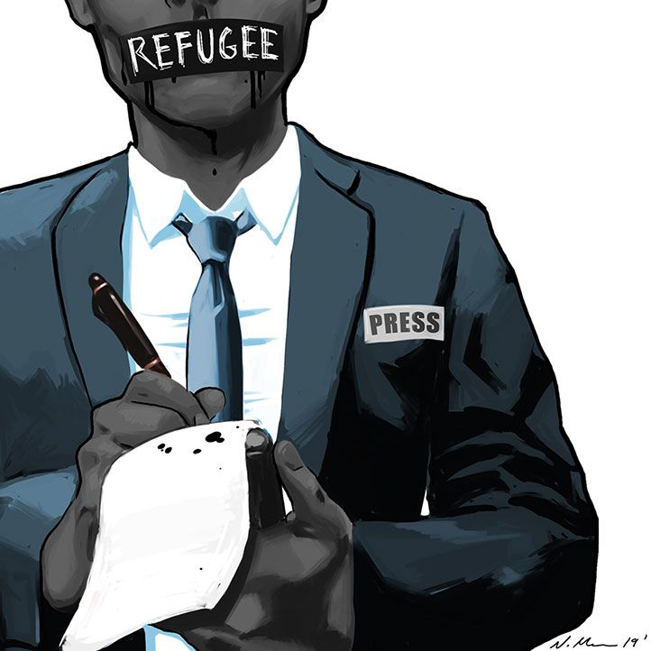 An illustration of a silenced journalist.