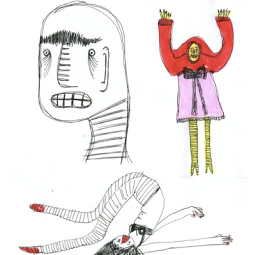 3 illustrations – one head , one full body with legs over head, one illustrated in bright clothing