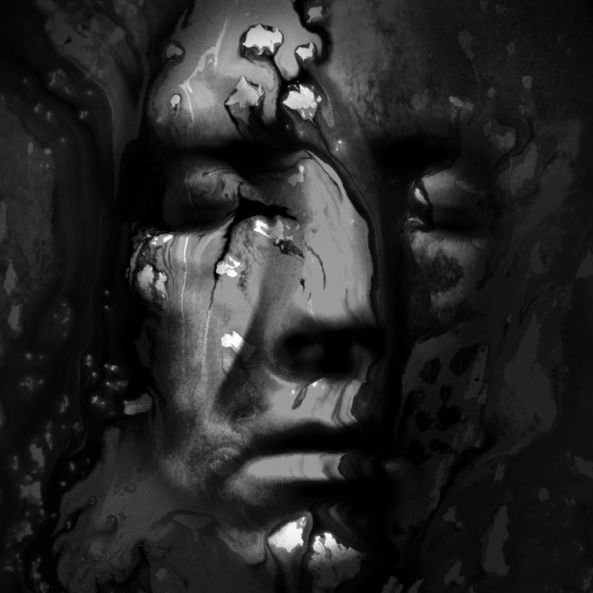 black and white abstract oil paint effect, close up of a face - closed eyes, with abstract shapes and textures behind and embossed spots / strokes on the face.