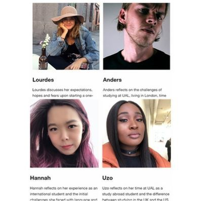 several picture of students with text (illegible) underneath. Screenshot of the UAL student voices webpage
