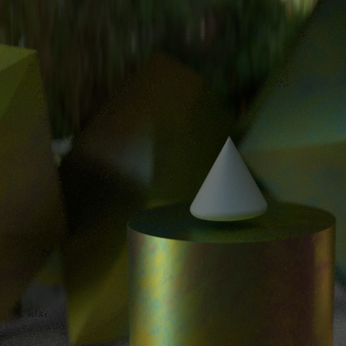 Computer-generated image showing a triangular sculpture in space.