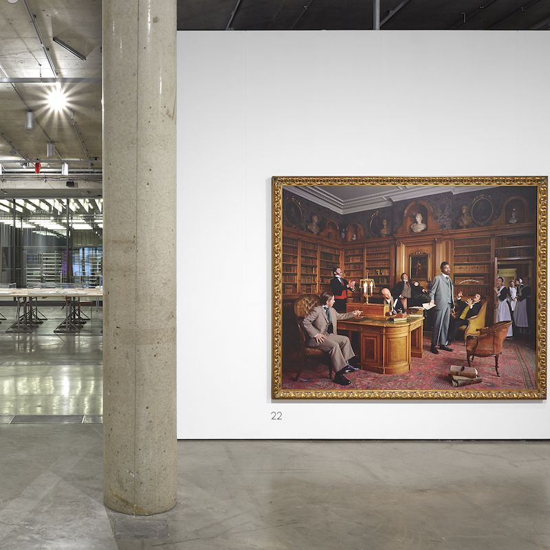 shows a photo by yinka shonibare, painting by madelynn mae green and a more work on view inside the lethaby gallery