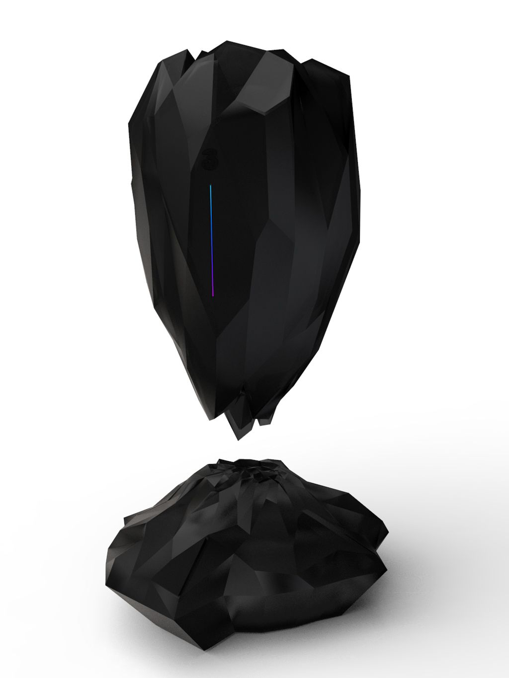 Digital design of black object reminiscent of a crystal