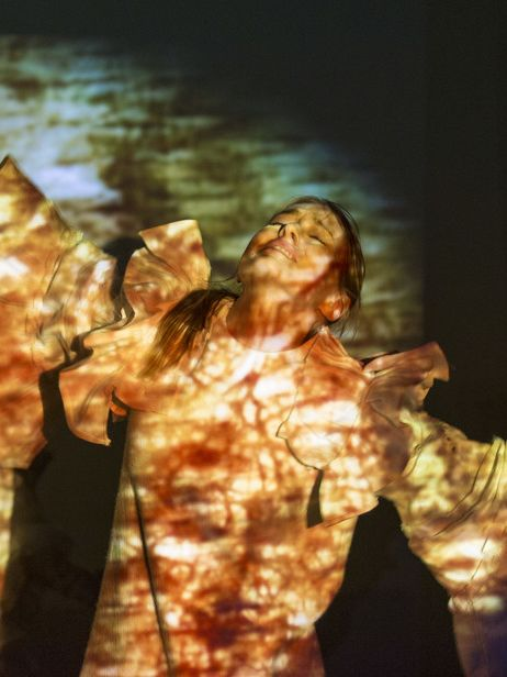 Performer acting with a projection image on them