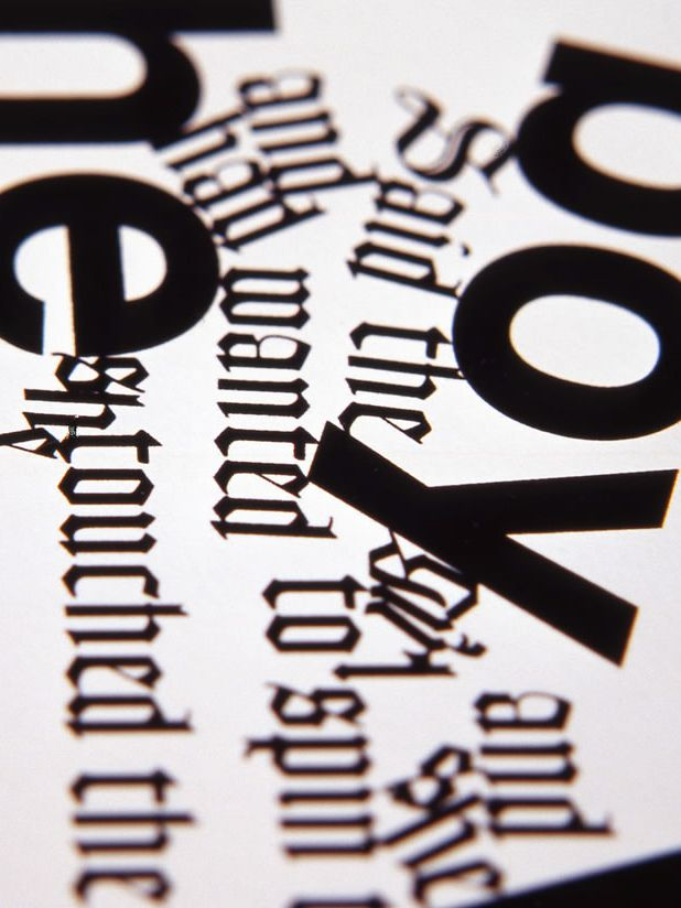 Black words printed on white paper