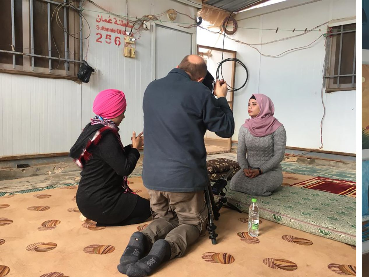 Youseff filming girls in zaatari refugee camp