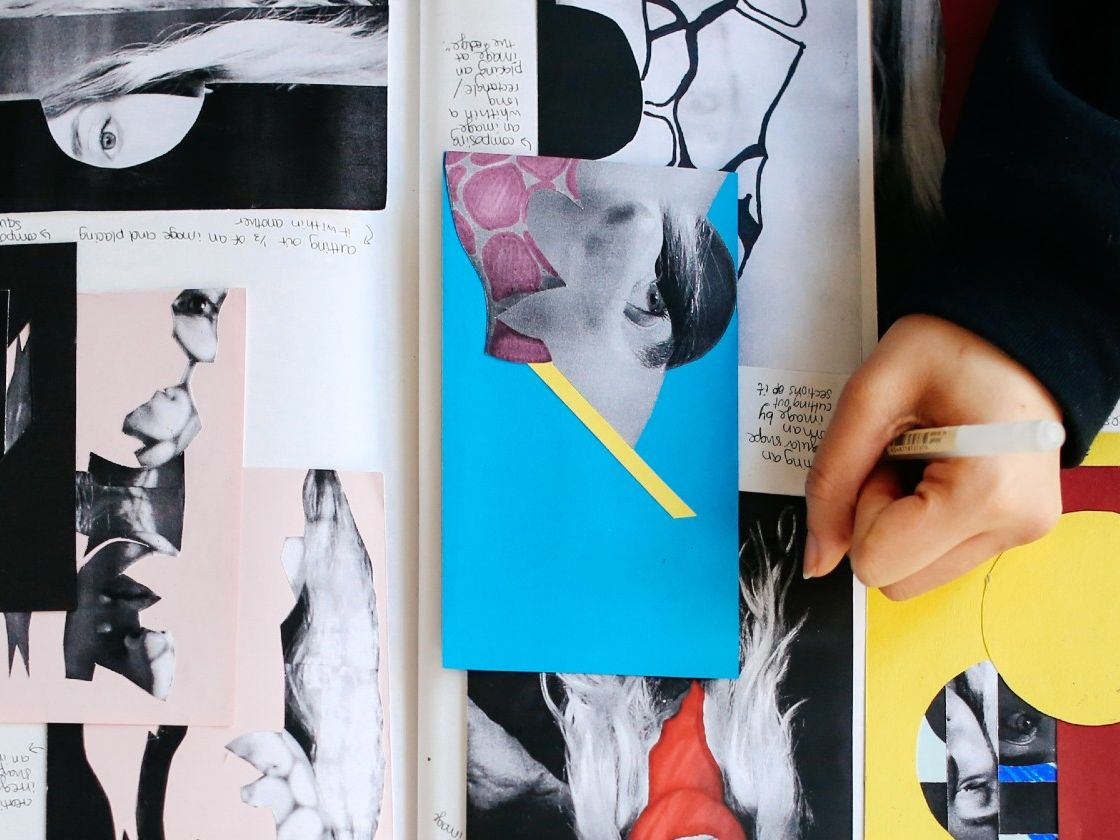 Student working on a collage
