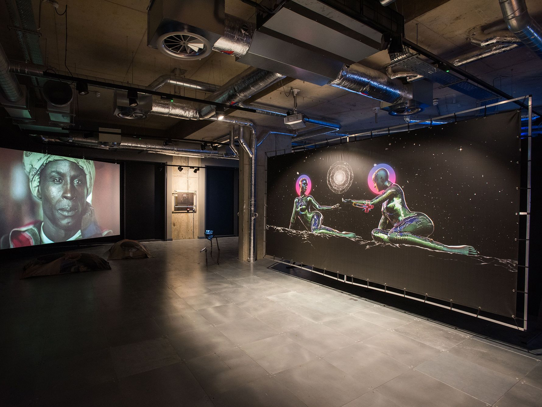 installation of exhibition, multiple screens