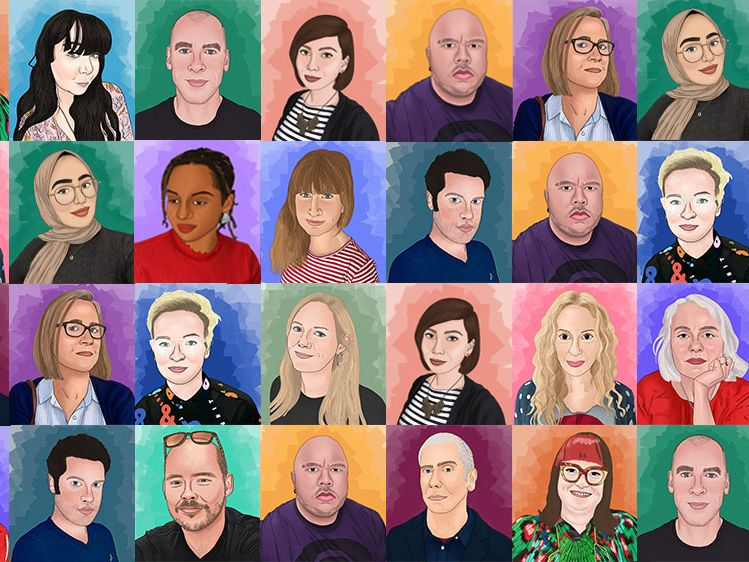 Colourful mosaic of staff illustrations