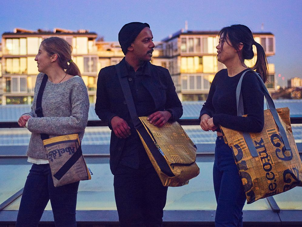 Models wearing bags from the Makeright project - a collaboration between the Design Against Crime Research Centre and HMP Thameside
