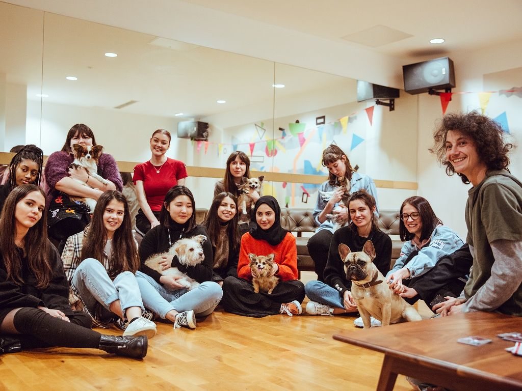 A group of UAL students meeting therapy puppies