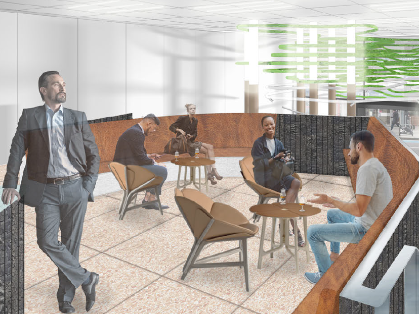 Image of the 'Mountain' bar in the winning student/graduate project for the LVMH Green Concept Store