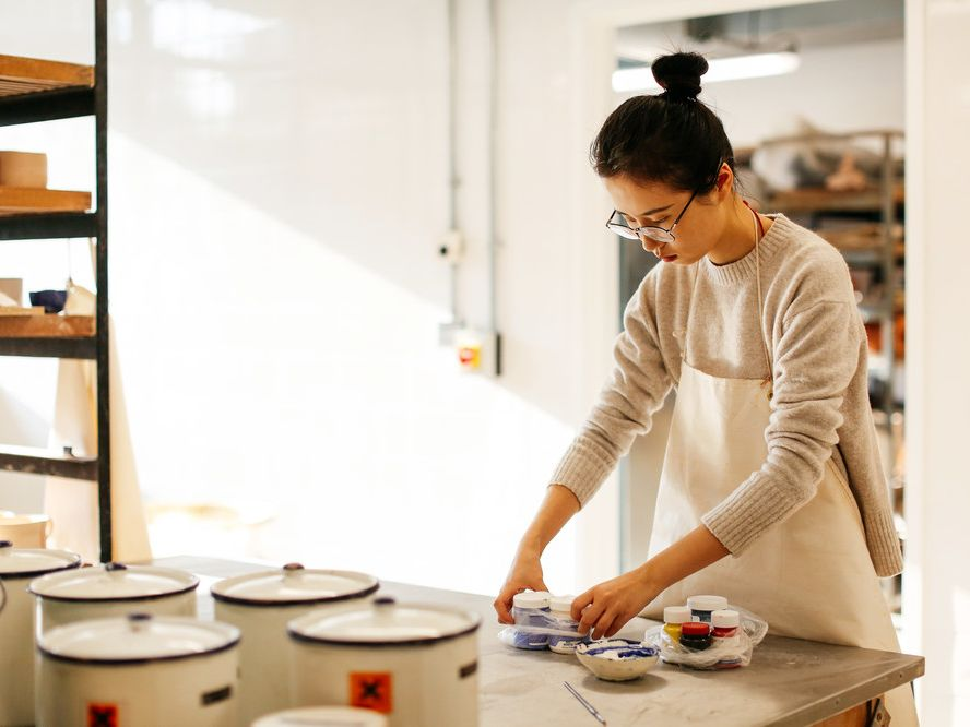 Student in ceramics workshop