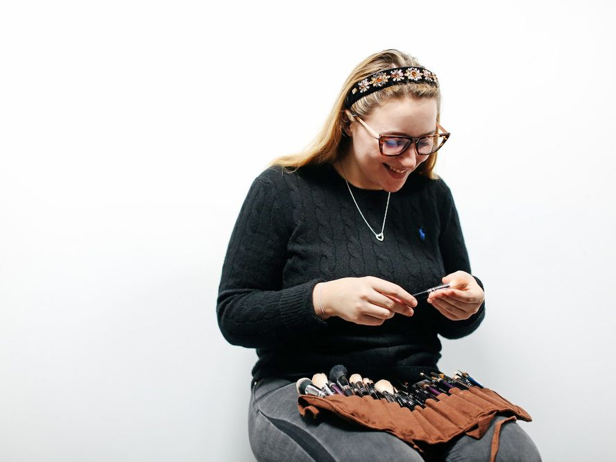 Student preparing makeup