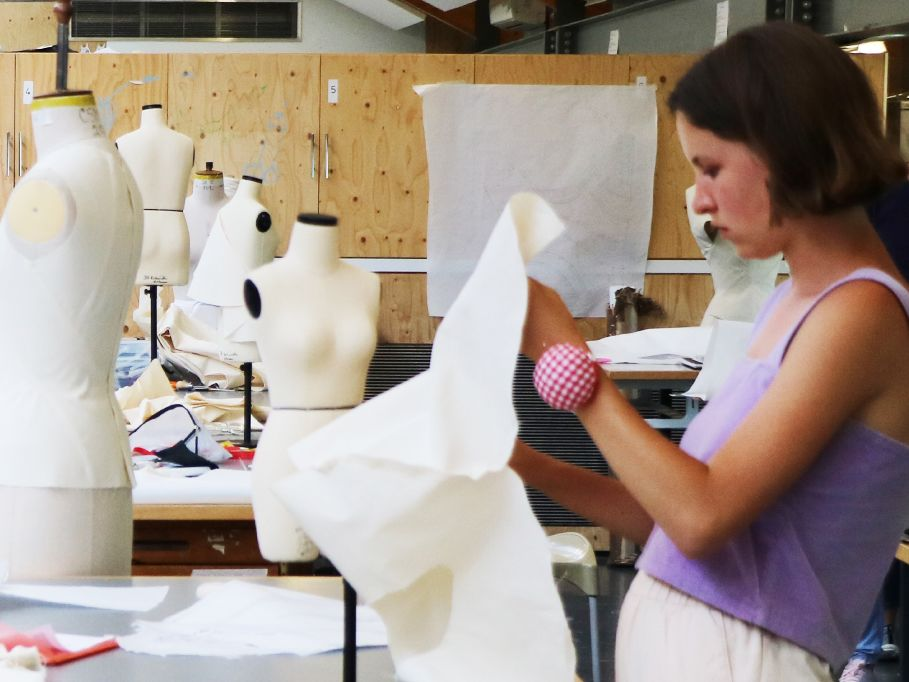 Students working in fashion studio