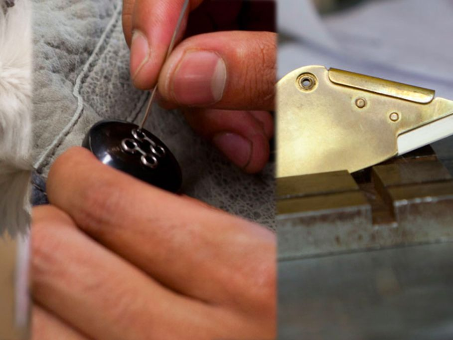 Stages of the fashion production process including sewing, cutting, button applying and a hanging garment.