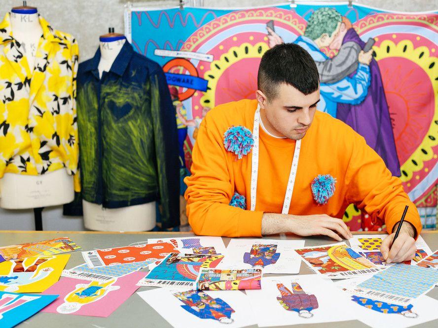 Tutor Dominic-Afsheen Akhavan-Moossavi working on his fashion illustrations.