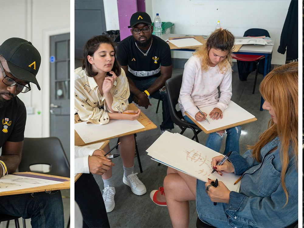 Students working in fashion drawing short course