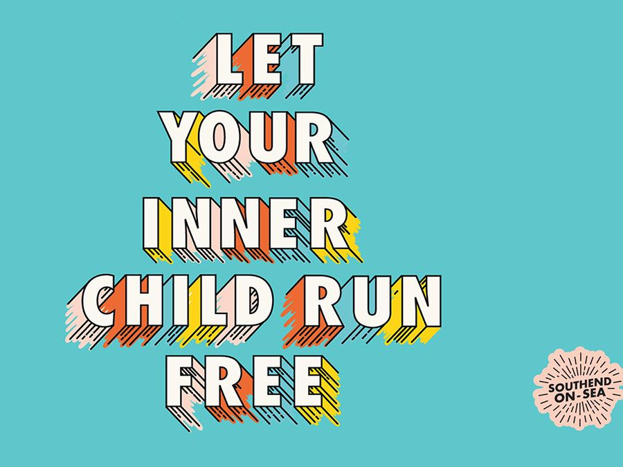 Concept art for Hannah's Southend project, which reads: 'Let your inner child run free'.
