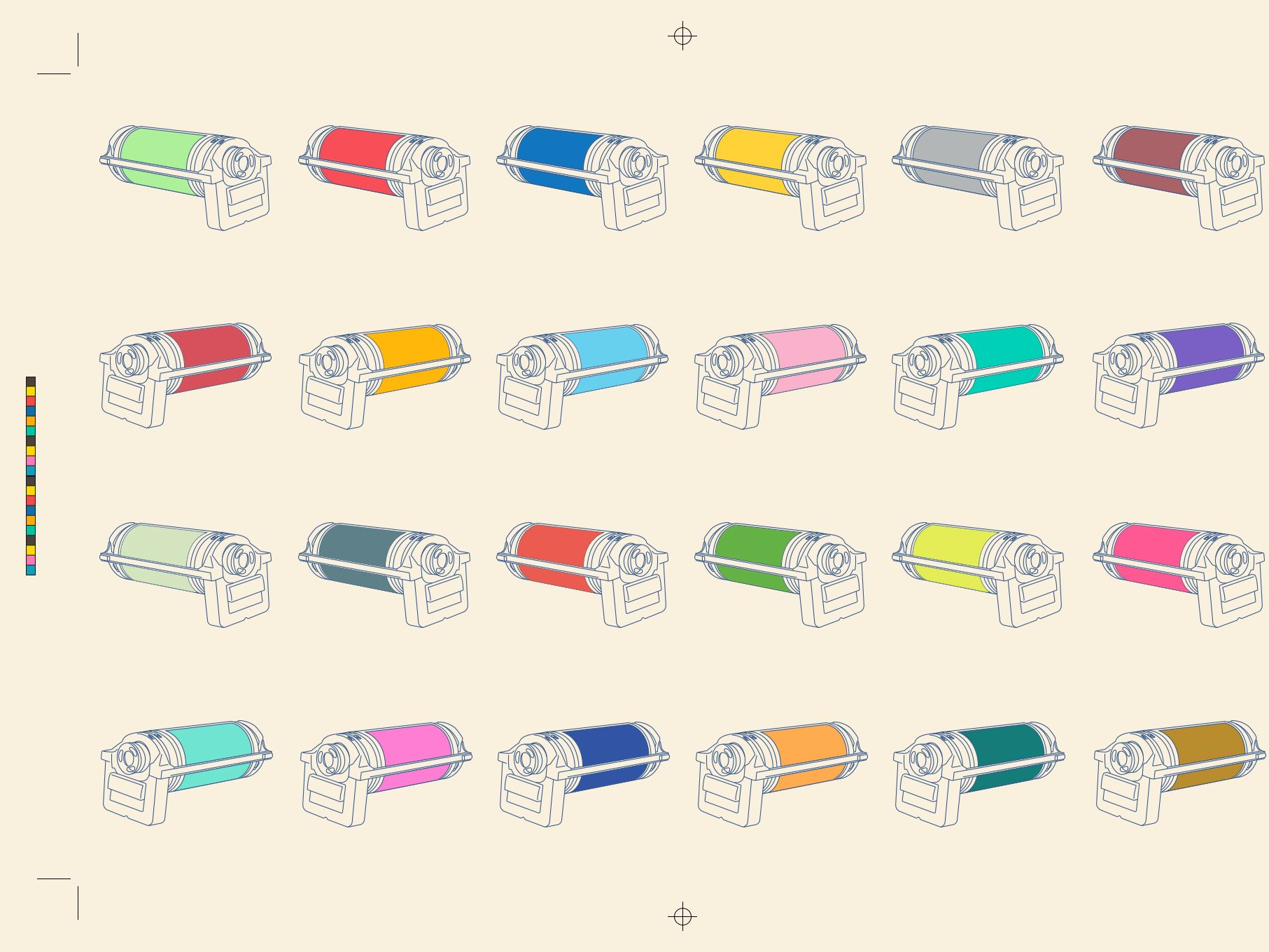 a risograph print displaying multiple coloured printing cylinders