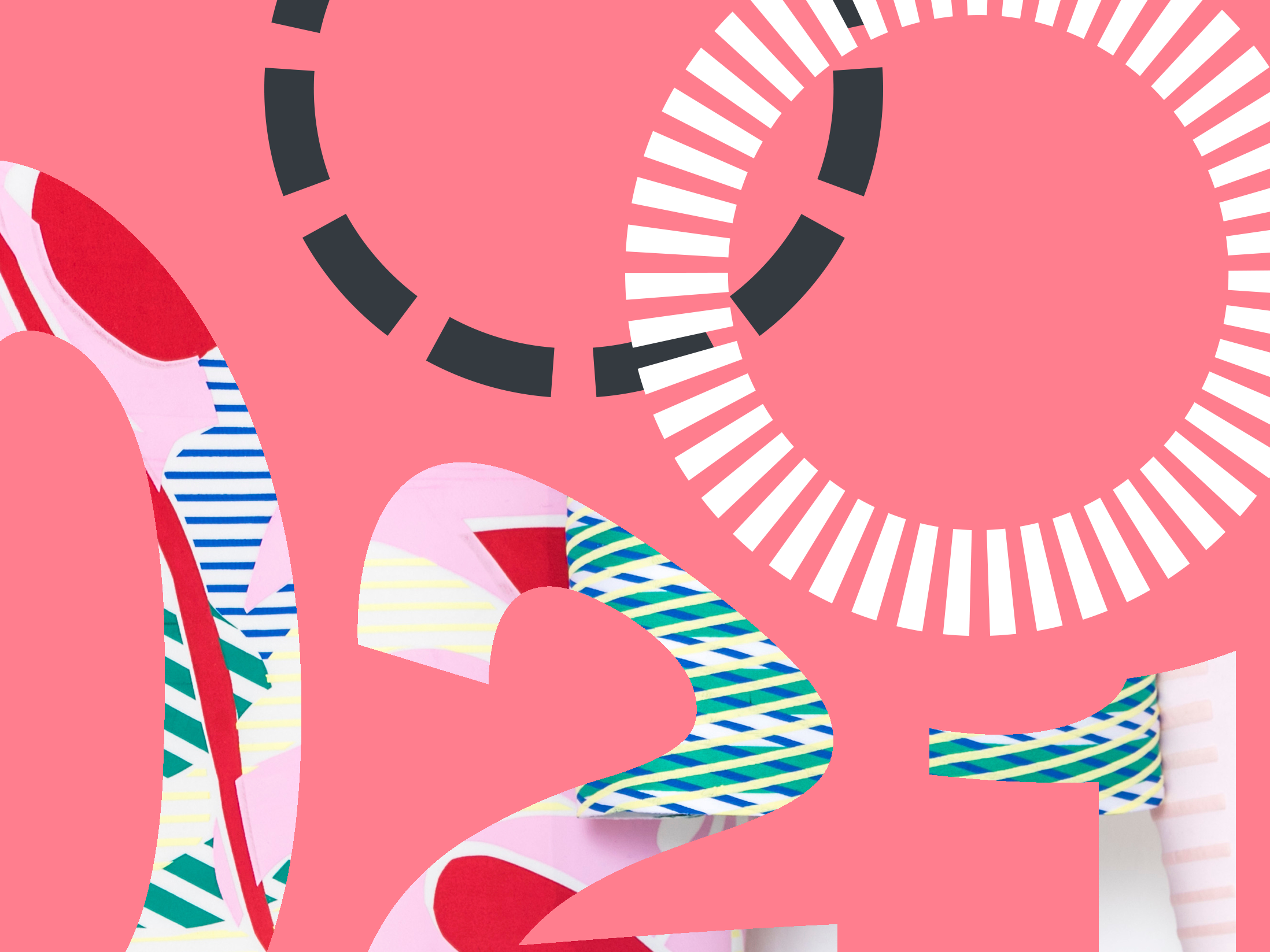 pale pink background with numbers 2021 in decorative red, green and white font