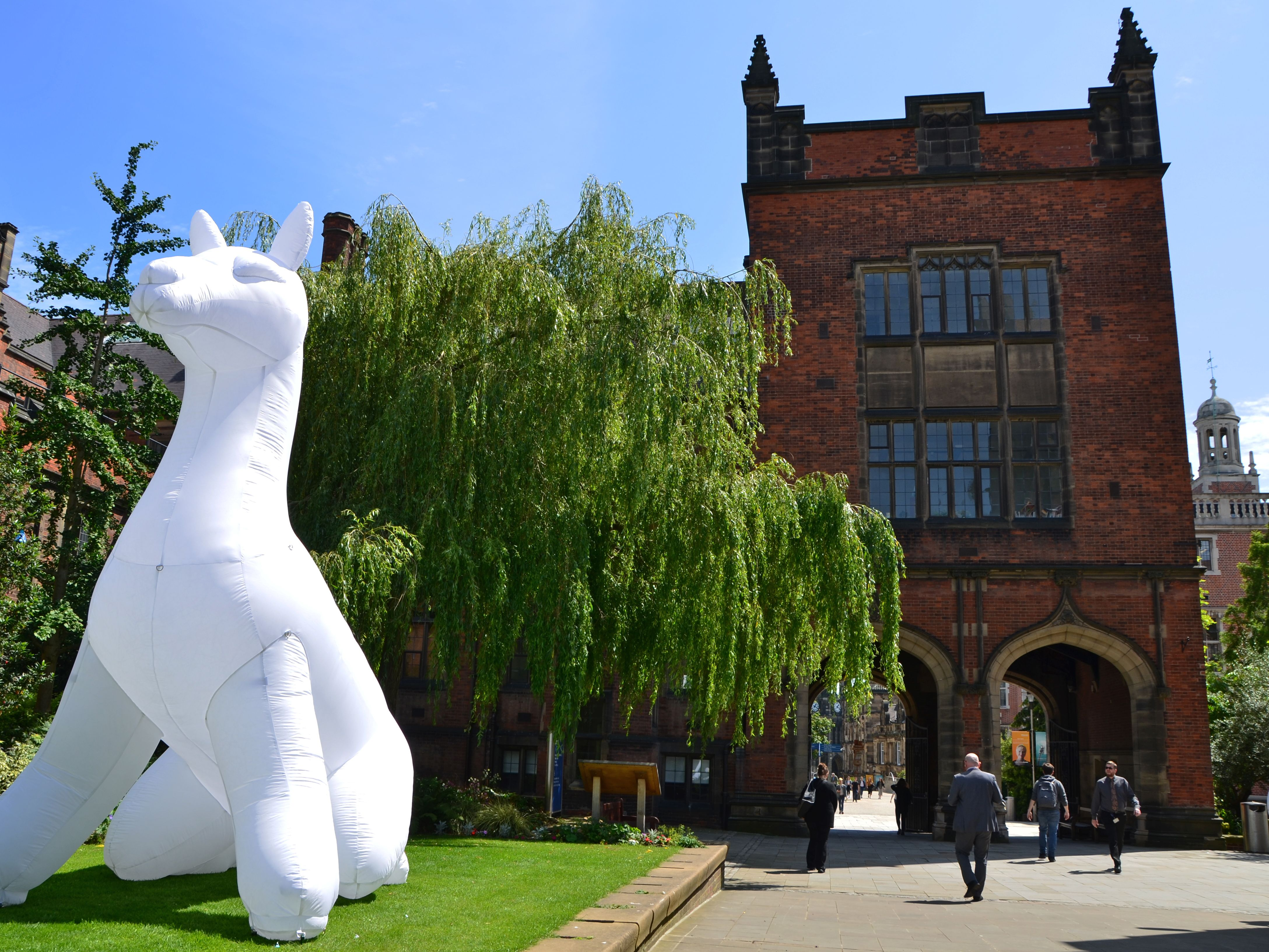 A large white inflatable on Newcastle University campus