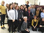 Photo of a group of students with Grayson Perry