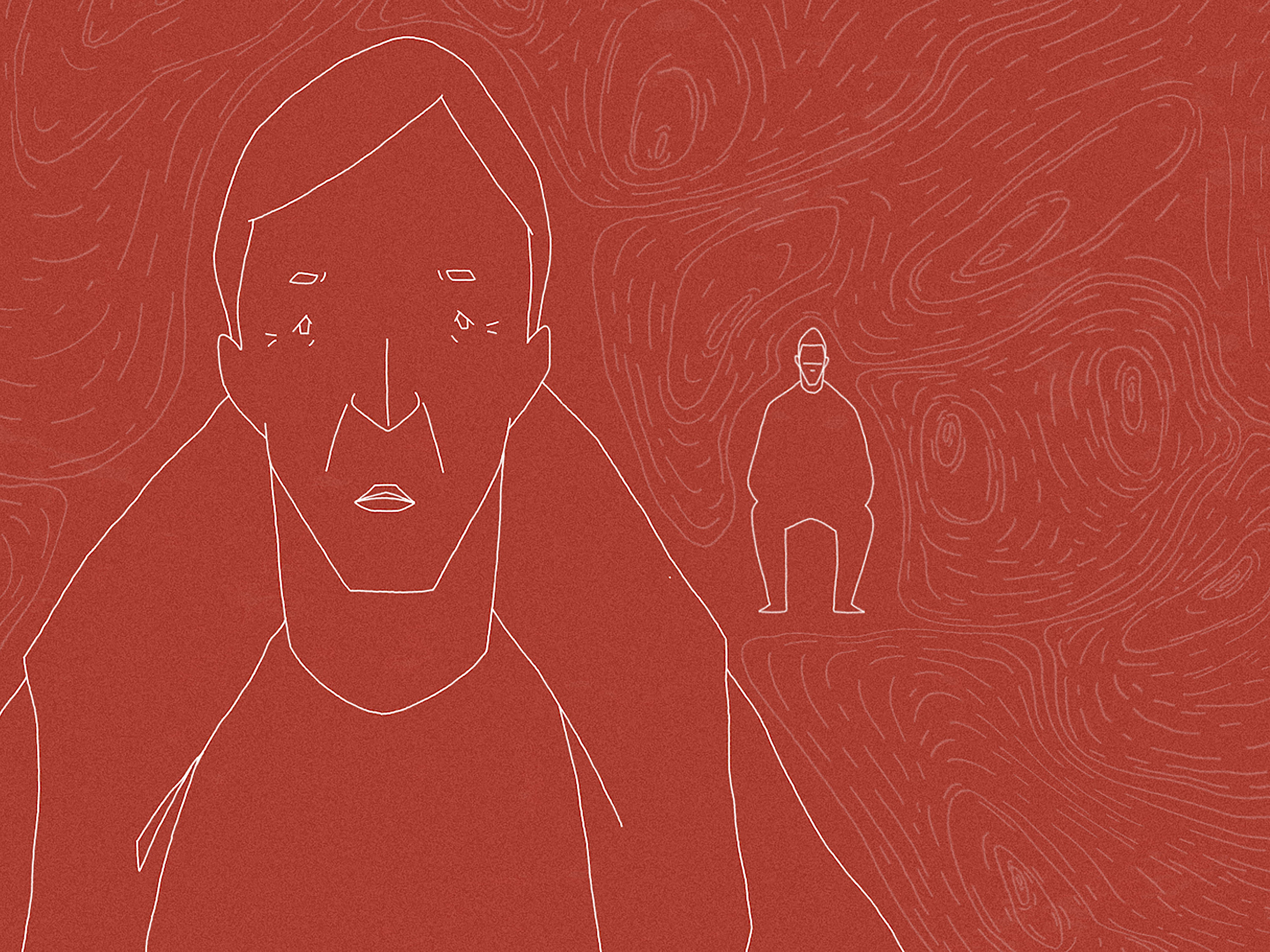 White line work animation of two male figures on a red background