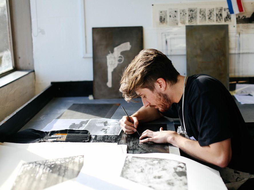 Luke Wade working in the studio