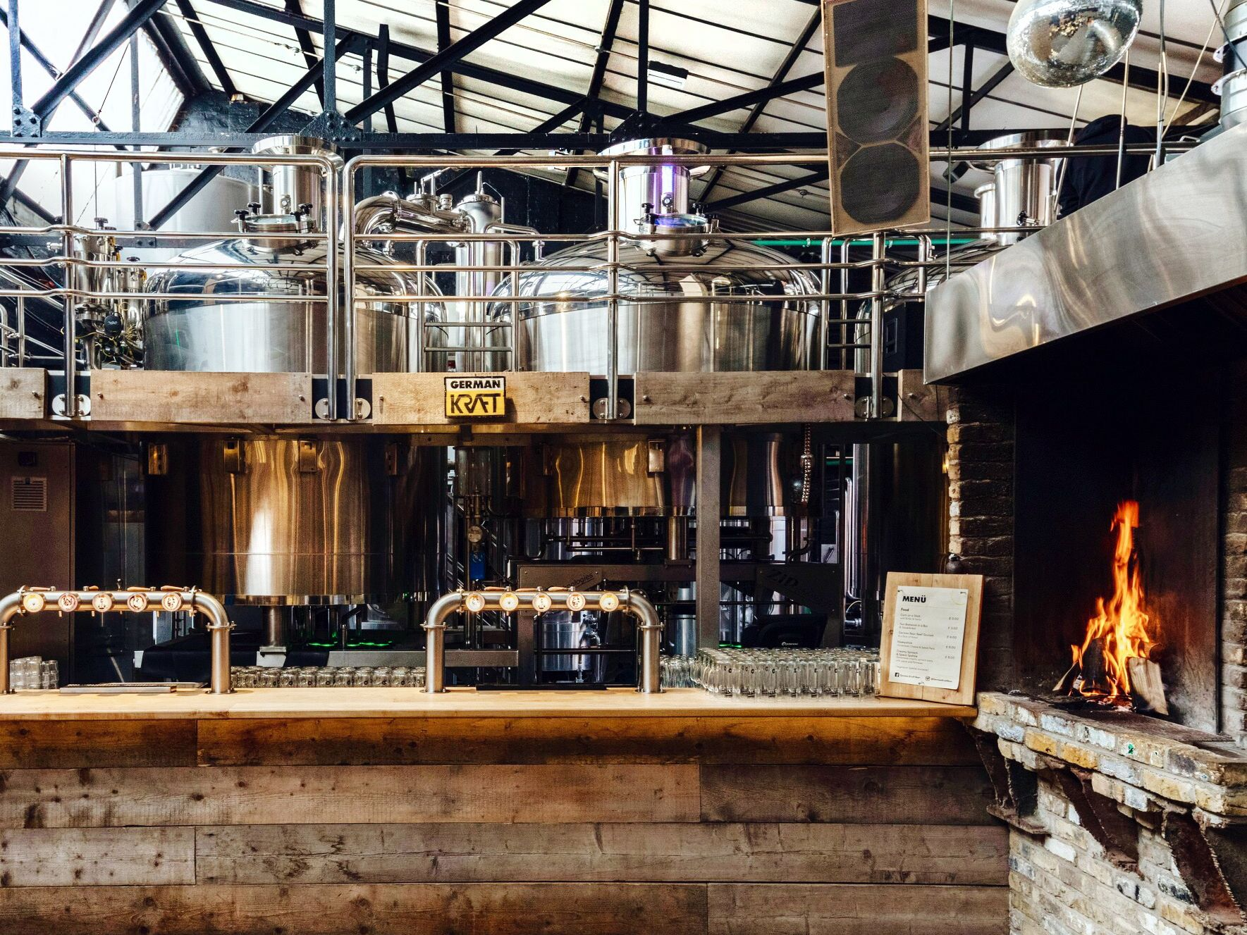 Interior view of a craft brewery.