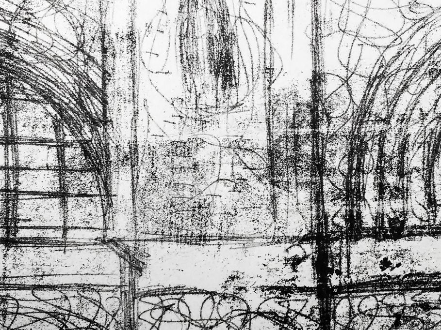 Student work, monoprint of building exterior with arches.