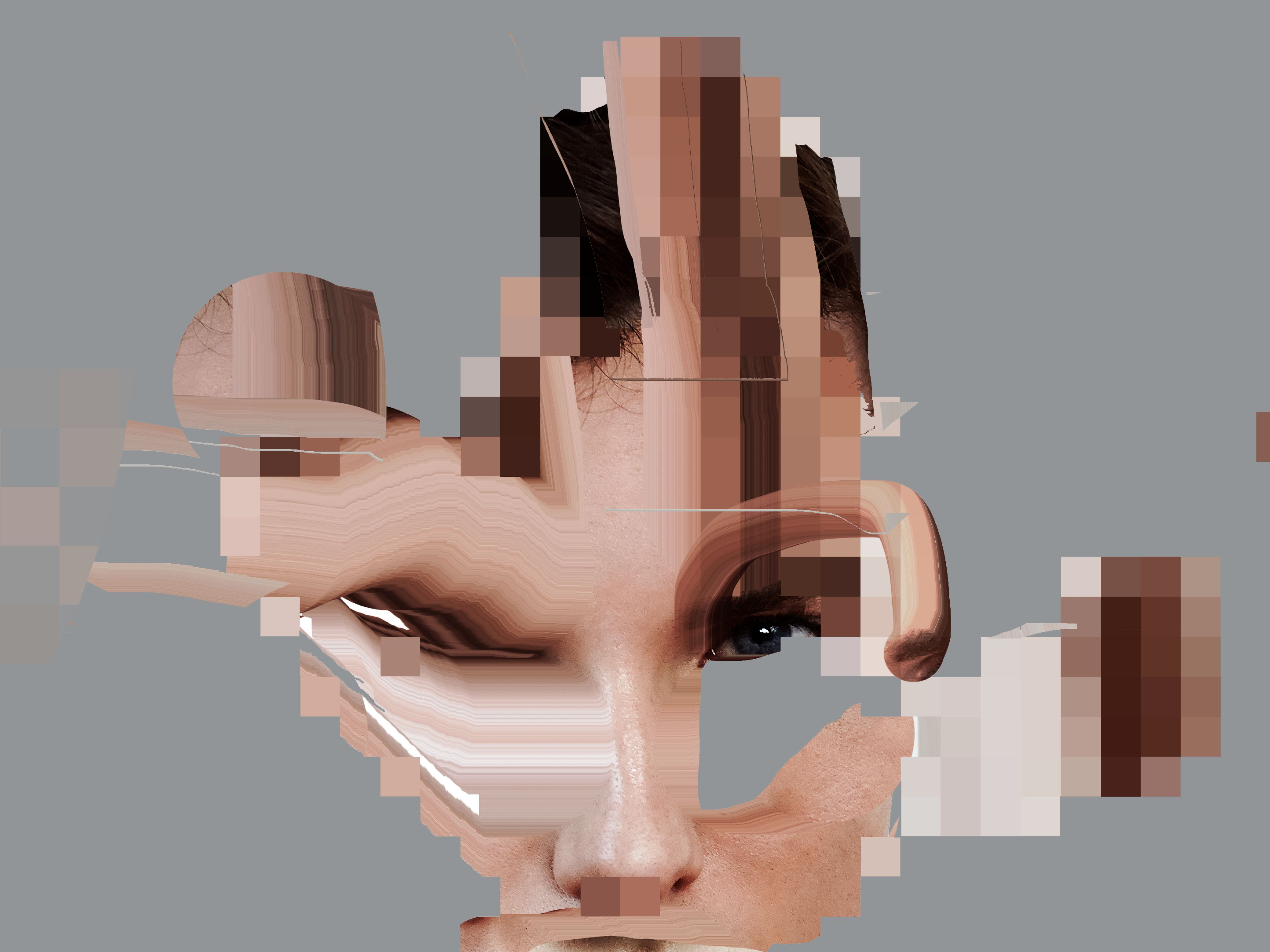 Distorted image of female model.